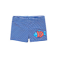 Buy John Lewis Baby Striped Fish Trunks, Blue Online at johnlewis.com