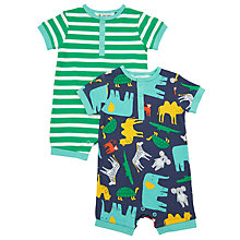 Buy John Lewis Baby Safari Romper, Pack of 2, Blue/Green Online at johnlewis.com