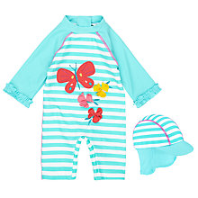 Buy John Lewis Baby Butterfly Striped SunPro Swimsuit And Hat Set, Green Online at johnlewis.com
