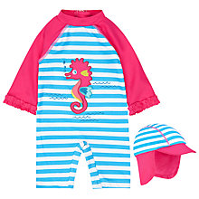 Buy John Lewis Baby Seahorse SunPro Swimsuit And Hat Set, Blue Online at johnlewis.com