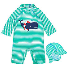Buy John Lewis Baby Whale Stripe SunPro Swimsuit And Hat Set, Green Online at johnlewis.com