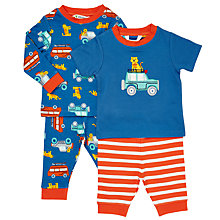 Buy John Lewis Baby Tiger Jeep Pyjamas, Pack of 2, Blue Online at johnlewis.com