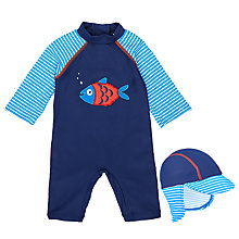 Buy John Lewis Baby Fish SunPro Swimsuit And Hat Set, Blue Online at johnlewis.com