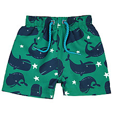 Buy John Lewis Baby Whale Print Board Shorts, Green Online at johnlewis.com