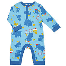 Buy John Lewis Baby Elephant Print Sleepsuit, Blue Online at johnlewis.com