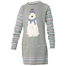 Buy Fat Face Girls' Polar Bear Knit Dress, Grey Online at johnlewis.com