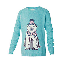 Buy Fat Face Girls' Polar Bear Jumper, Blue Online at johnlewis.com