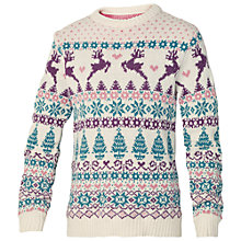 Buy Fat Face Girls' Ava Fair Isle Jumper, Cream Online at johnlewis.com