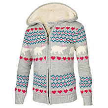 Buy Face Face Girls' Polar Bear Knitted Cardigan, Grey Online at johnlewis.com