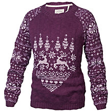 Buy Fat Face Girls' Fair Isle Heart Jumper, Purple Online at johnlewis.com