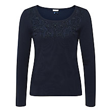 Buy Jacques Vert Tape Detail Scoop Neck Jumper, Navy Online at johnlewis.com