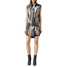 Buy AllSaints Luna Zebu Silk Dress, Bitter Chocolate Online at johnlewis.com
