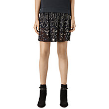 Buy AllSaints Philomena Sidney Embroidered Skirt, Black/Ink Online at johnlewis.com