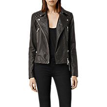 Buy AllSaints Bleeker Leather Biker Jacket Online at johnlewis.com