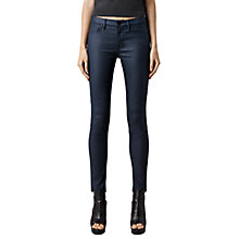Buy AllSaints Mast Coated Skinny Jeans, Navy Online at johnlewis.com