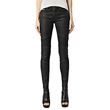 Buy AllSaints Biker Coated Skinny Jeans, Black Online at johnlewis.com