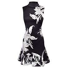 Buy Karen Millen Floral Print Scuba Skater Dress, Black Multi Online at johnlewis.com