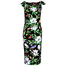 Buy Jolie Moi Tropical Retro Wiggle Dress, Black Tropical Online at johnlewis.com