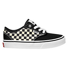 Buy Vans Children's Checkers Atwood Shoes, Black/White Online at johnlewis.com