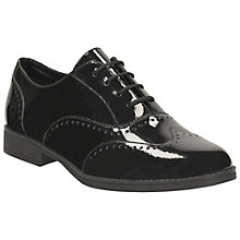 Buy Clarks Sami Flash Patent Leather Brogue Shoes, Black Online at johnlewis.com