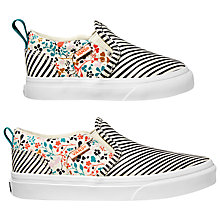 Buy Vans Children's Asher Multi Print Slip-On Shoes, White Online at johnlewis.com