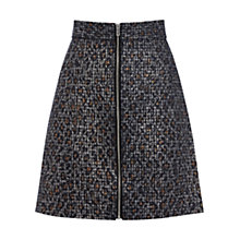 Buy Warehouse Animal Print Zip Front Skirt, Navy Online at johnlewis.com