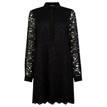 Buy Warehouse Lace Shirt Dress, Black Online at johnlewis.com