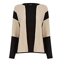 Buy Warehouse Vertical Stripe Jumper, Black/Taupe Online at johnlewis.com
