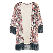 Buy Violeta by Mango Velvet Fringed Caftan, Brown/Multi Online at johnlewis.com