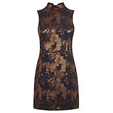 Buy Warehouse High Neck Jacquard Dress, Navy Online at johnlewis.com
