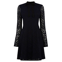 Buy Warehouse Lace Bow Dress, Navy Online at johnlewis.com