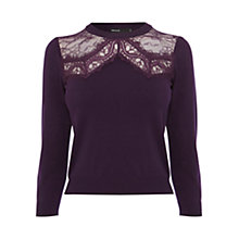 Buy Karen Millen Lace Panel Knit Top Online at johnlewis.com