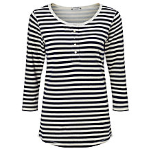 Buy Maison Scotch Home Alone Stripe Grandad T-Shirt, Black/Ecru Online at johnlewis.com