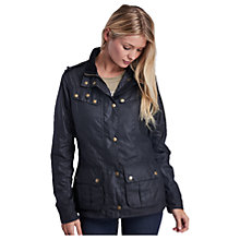 Buy Barbour International Hairpin Waxed Jacket, Black Online at johnlewis.com
