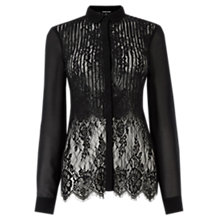 Buy Warehouse Double Layer Lace Blouse, Black Online at johnlewis.com