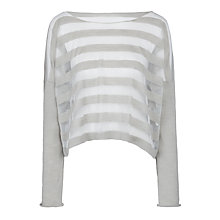Buy Crea Concept Cropped Sheer Stripe Jumper, Silver Online at johnlewis.com