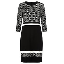 Buy Gerry Weber Patterned Colour Block Dress, Black/Ecru Online at johnlewis.com