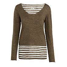 Buy Crea Concept Sheer Stripe Jumper, Dark Khaki Online at johnlewis.com