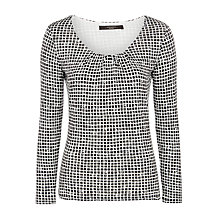 Buy Weekend MaxMara Ginseng Check Jersey Top, White/Navy Online at johnlewis.com