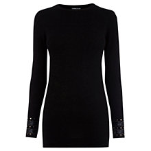Buy Warehouse Embellished Cuff Jumper, Black Online at johnlewis.com