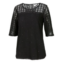 Buy Fat Face Lace Mix Shell Top, Phantom Online at johnlewis.com