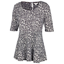 Buy Fat Face Peplum Craft Floral Top, Black Online at johnlewis.com