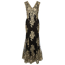 Buy Jacques Vert Metallic Lace Applique Maxi Dress, Black/Gold Online at johnlewis.com