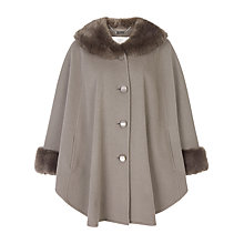 Buy Jacques Vert Faux Fur Trim Cape, Mid Grey Online at johnlewis.com