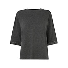 Buy Warehouse Embellished Knit Top, Dark Grey Online at johnlewis.com