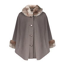 Buy Jacques Vert Petite Faux Fur Trim Cape, Mid Grey Online at johnlewis.com