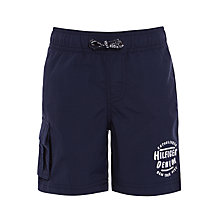 Buy Tommy Hilfiger Boys' Solid Swim Shorts, Black Iris Online at johnlewis.com