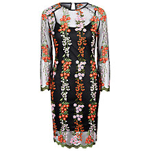 Buy True Decadence Embroidered Bodycon Dress, Black/Pink Online at johnlewis.com