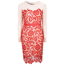 Buy True Decadence Lace Bodycon Dress, Nude/Red Online at johnlewis.com