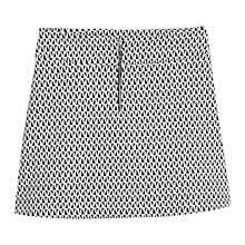 Buy Mango Geometric Patterned Cotton Skirt, Black Online at johnlewis.com